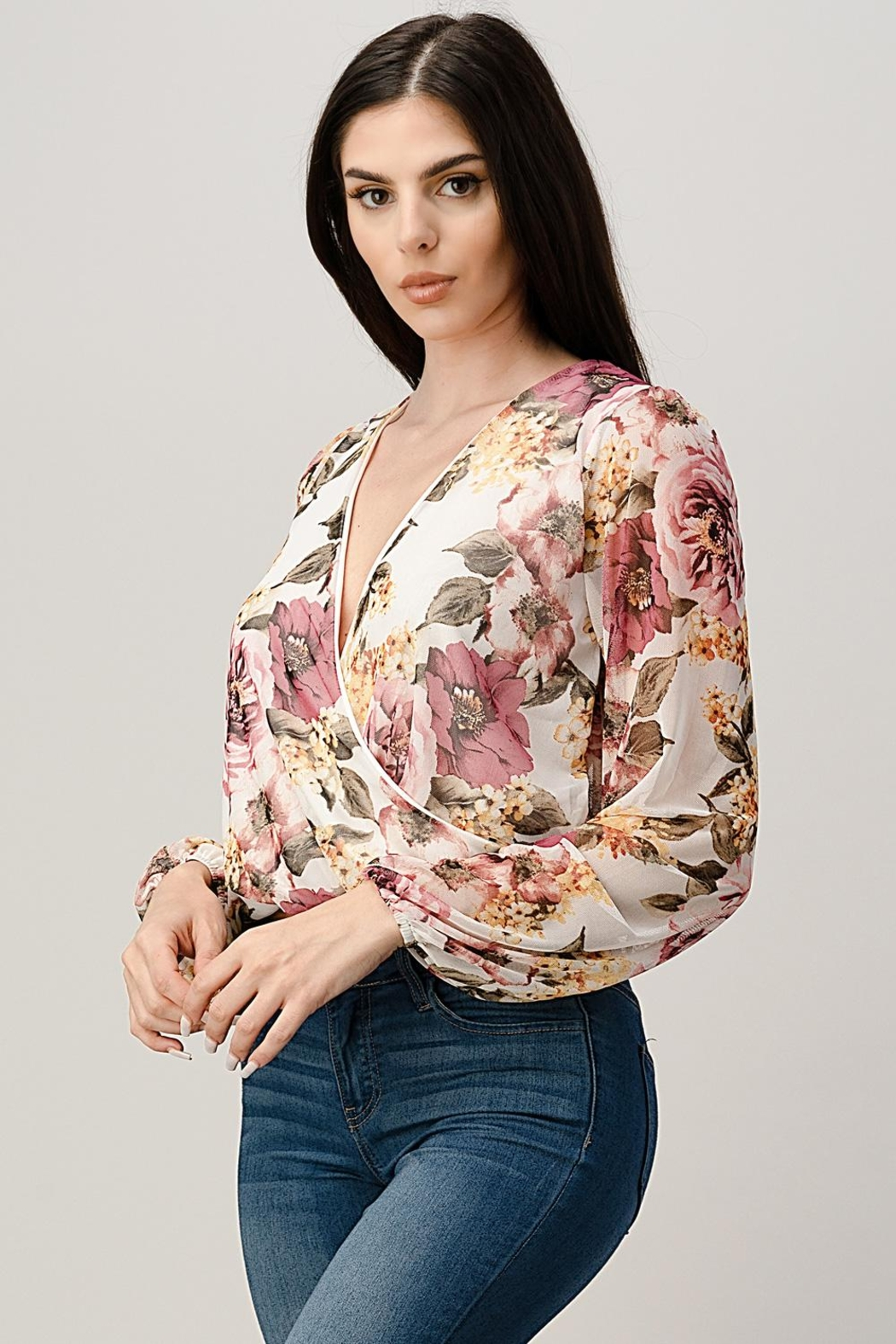 Miley and Molly Mesh Floral Surplice Blouse Top - Front Full Image