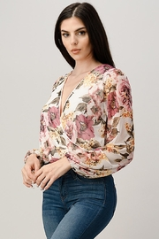 Miley and Molly Mesh Floral Surplice Blouse Top - Front full body