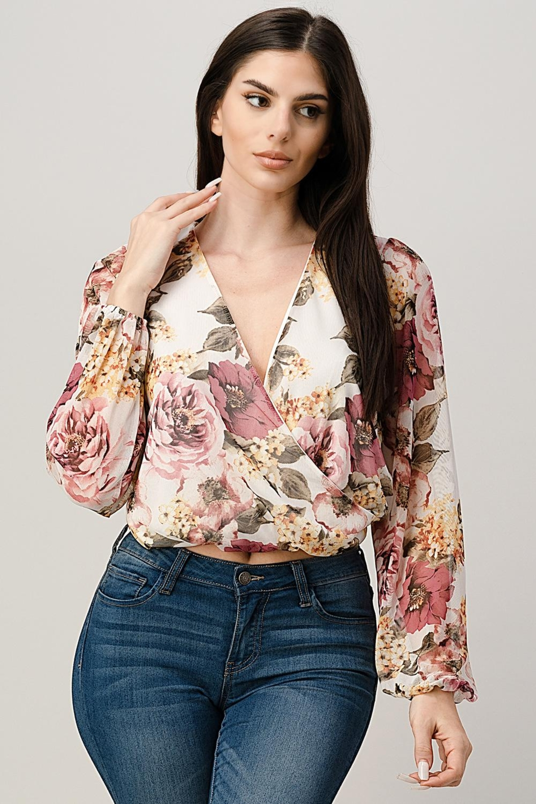 Miley and Molly Mesh Floral Surplice Blouse Top - Main Image