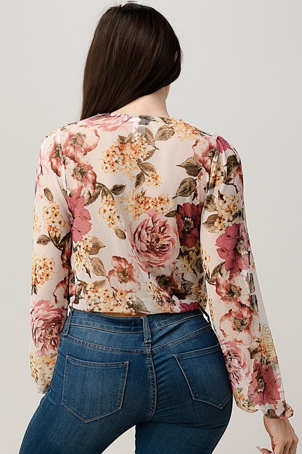 Miley and Molly Mesh Floral Surplice Blouse Top - Side Cropped Image