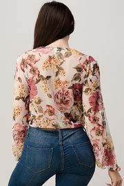 Miley and Molly Mesh Floral Surplice Blouse Top - Side cropped