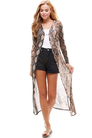 Miley and Molly Mesh Long Sleeve Snake Duster Cardigan - Product Mini Image