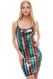 Miley and Molly Multi Sequins Stripe Tank Mini Dress - Front cropped