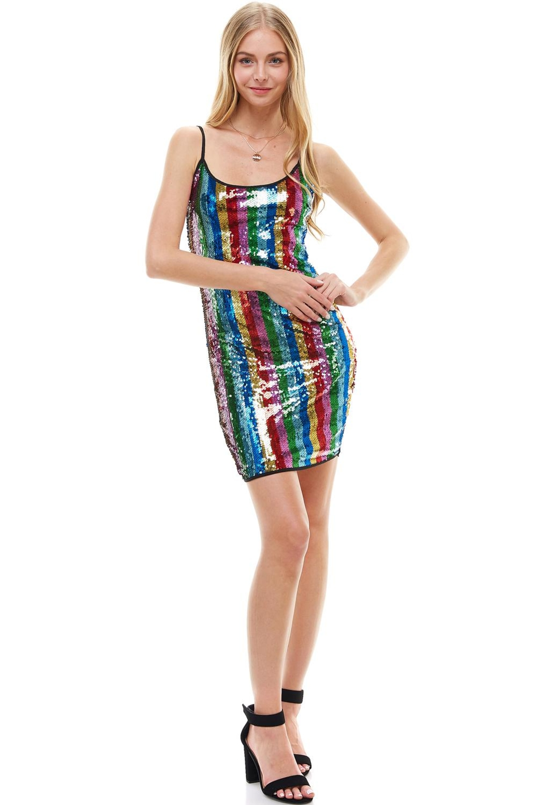 Miley and Molly Multi Sequins Stripe Tank Mini Dress - Front Full Image