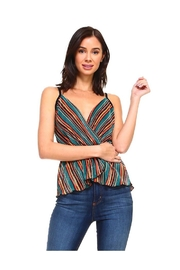 Miley and Molly Multi Stripe Button Detail Peplum Top - Product Mini Image