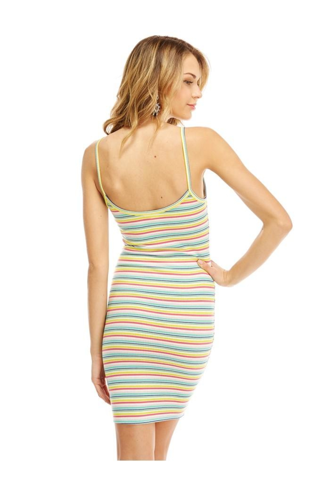 Miley and Molly Multi Stripe Button Detail Tank Dress - Back Cropped Image