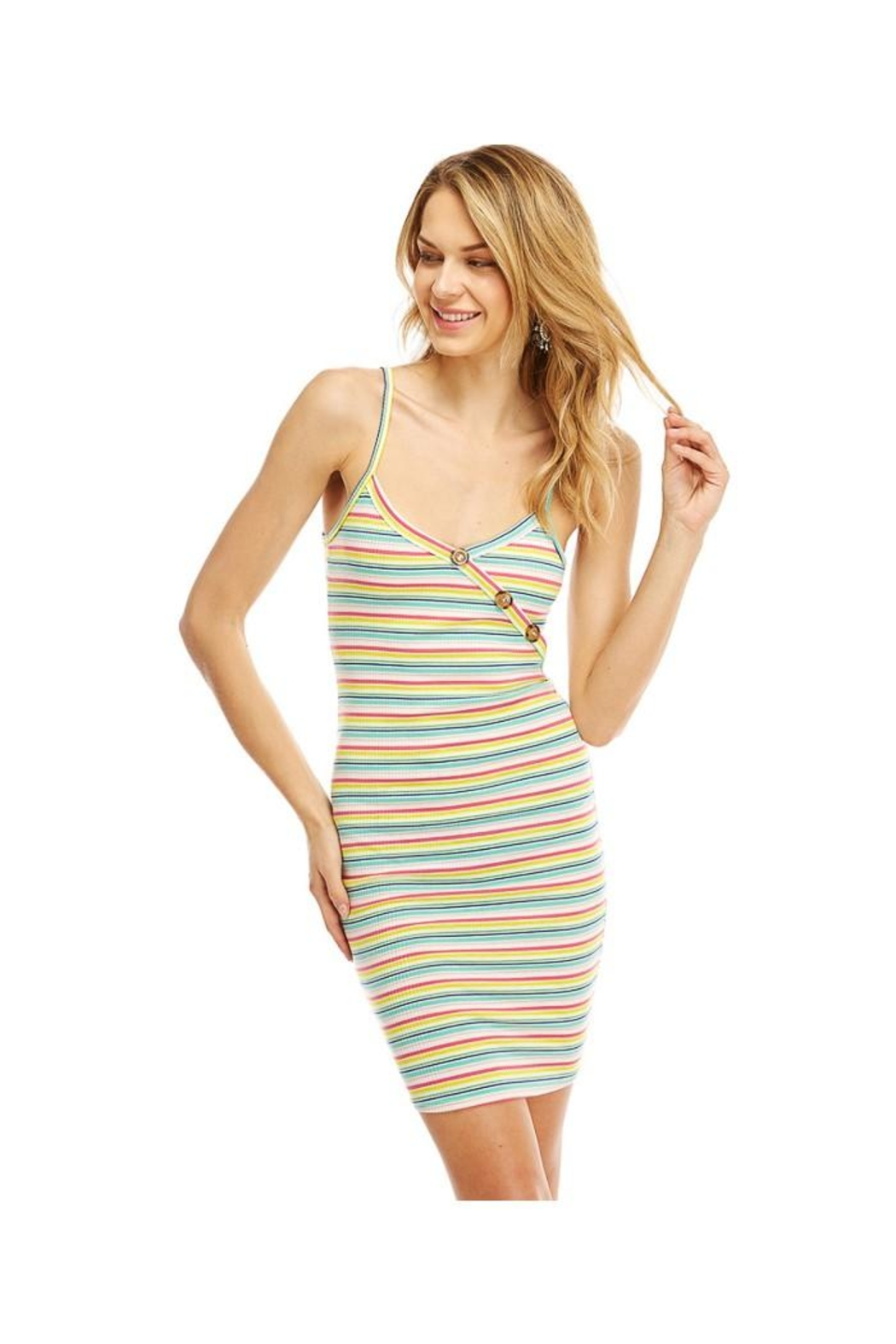 Miley and Molly Multi Stripe Button Detail Tank Dress - Main Image