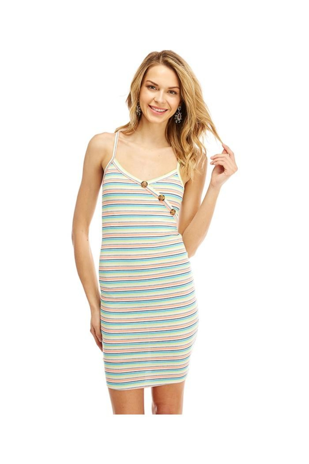 Miley and Molly Multi Stripe Button Detail Tank Dress - Front Cropped Image