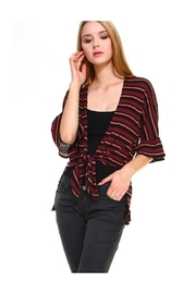 Miley and Molly Multi Stripe Hi-Low Front Tie Cardigan - Product Mini Image