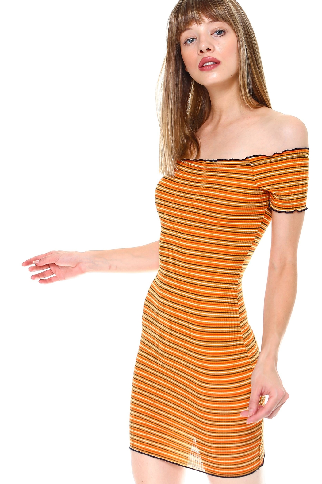 Miley and Molly Multi Stripe Off Shoulder Dress - Side Cropped Image