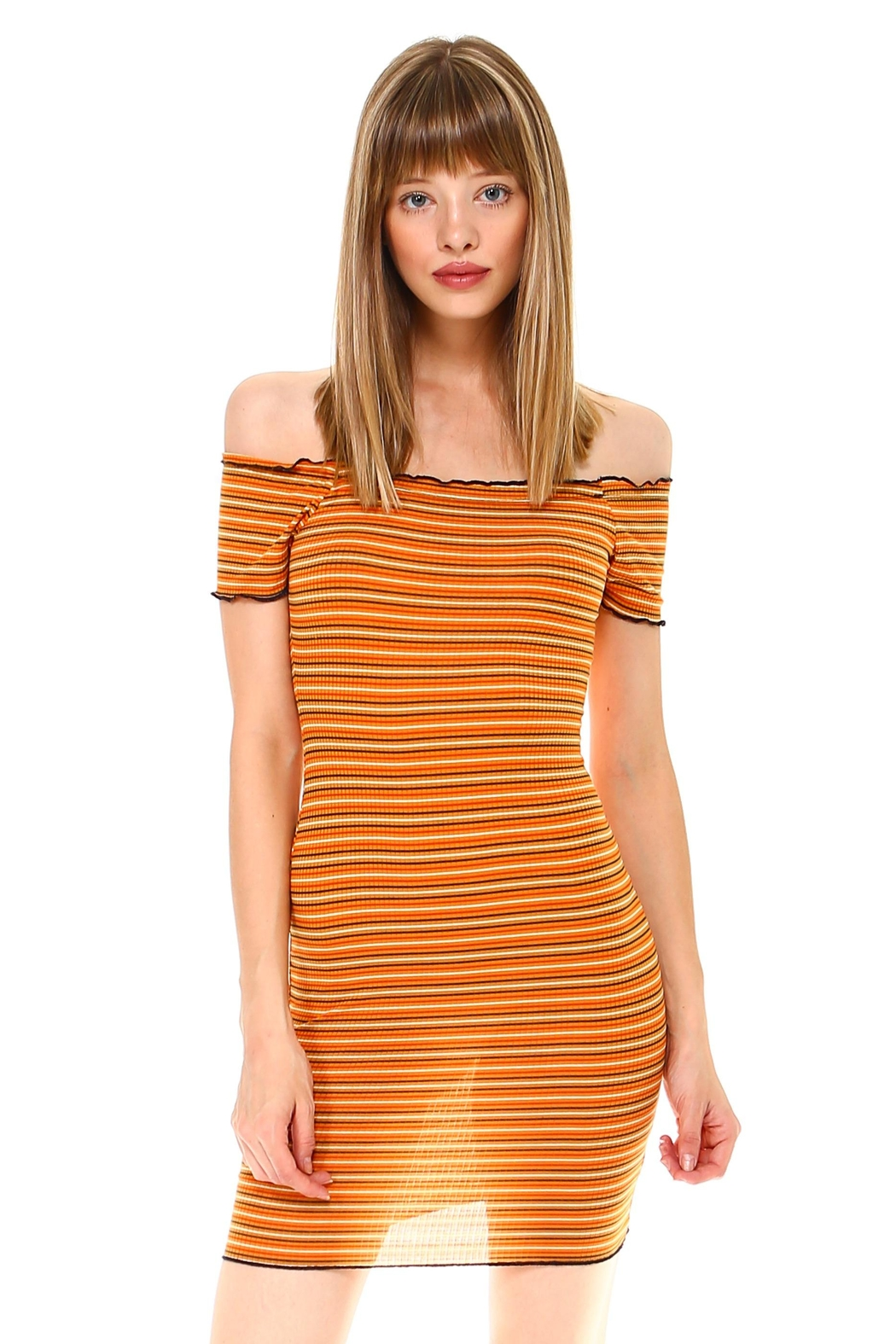 Miley and Molly Multi Stripe Off Shoulder Dress - Main Image