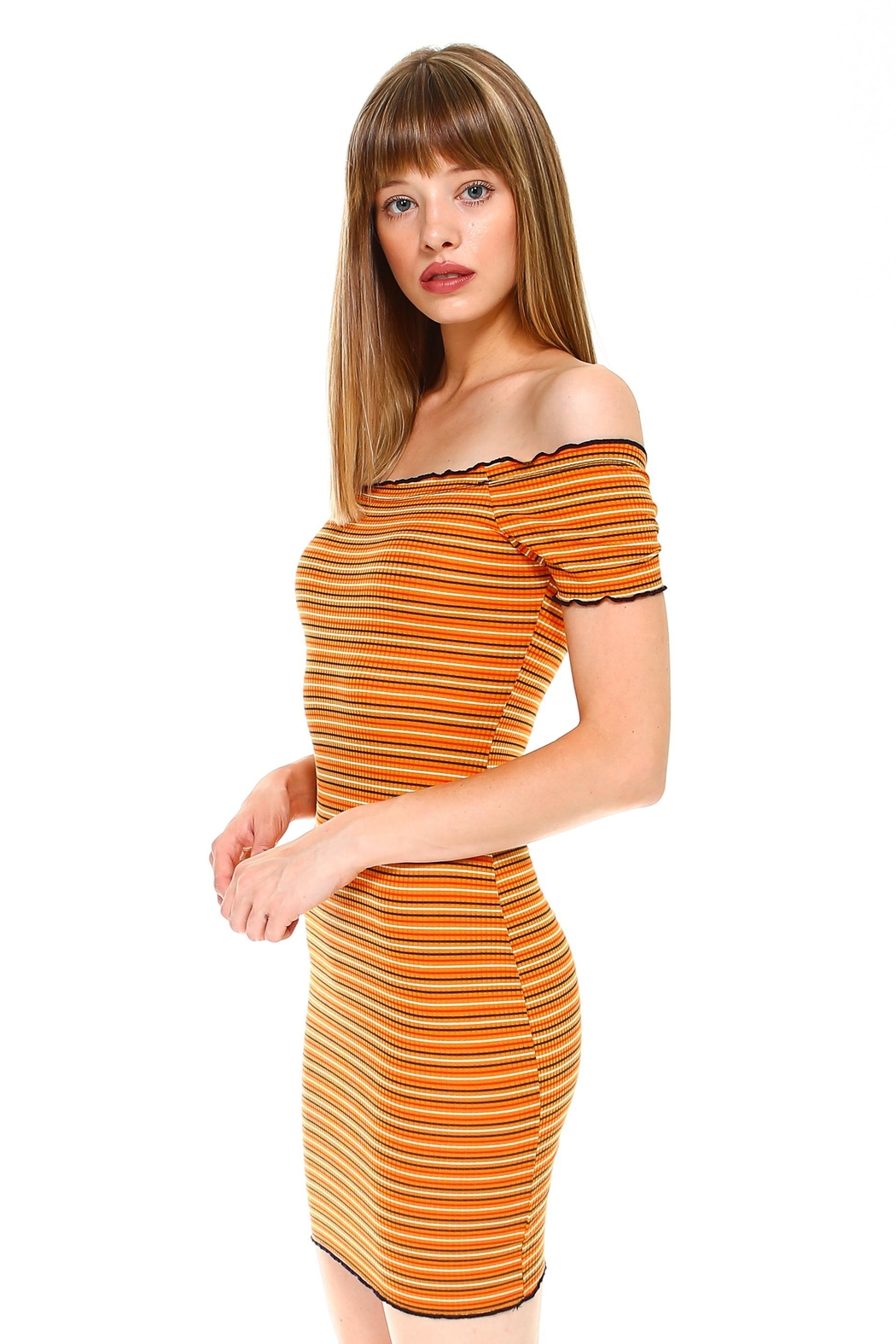 Miley and Molly Multi Stripe Off Shoulder Dress - Front Full Image