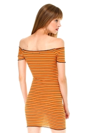Miley and Molly Multi Stripe Off Shoulder Dress - Back cropped