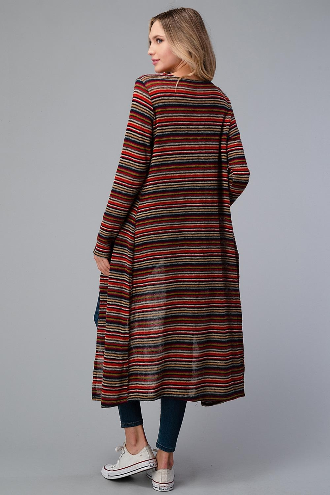 Miley and Molly Multi Stripe Sweater Long Cardigan Duster - Back Cropped Image