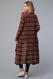 Miley and Molly Multi Stripe Sweater Long Cardigan Duster - Back cropped