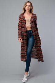 Miley and Molly Multi Stripe Sweater Long Cardigan Duster - Front cropped