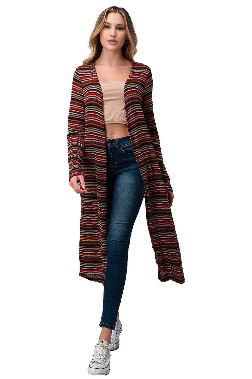 Miley and Molly Multi Stripe Sweater Long Duster - Main Image