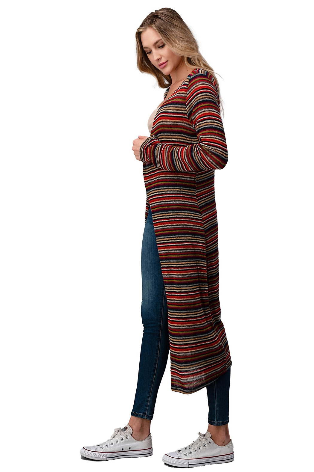 Miley and Molly Multi Stripe Sweater Long Duster - Front Full Image