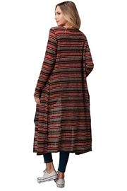 Miley and Molly Multi Stripe Sweater Long Duster - Side cropped