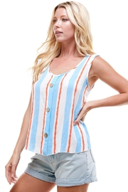 Miley and Molly Multi Stripe Tie Shoulder Button Swing Top - Product Mini Image