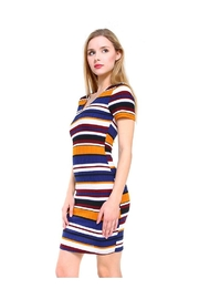 Miley and Molly Multi Stripe V-Neck Short Sleeve Dress - Product Mini Image