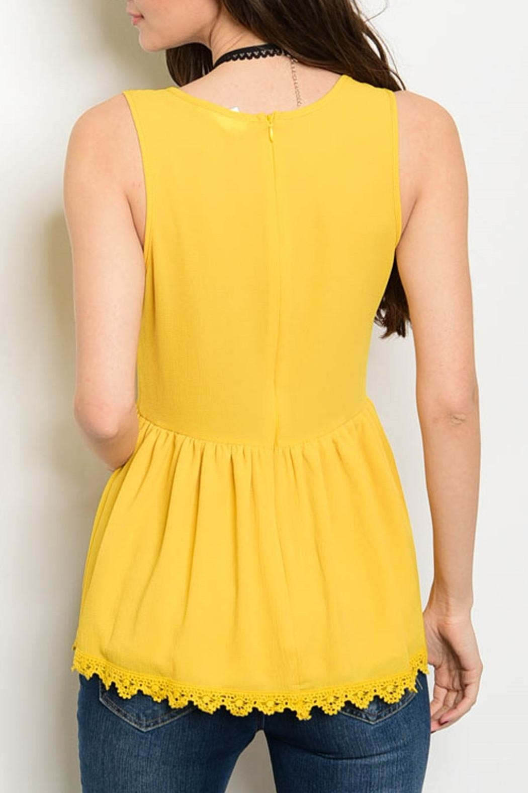 Miley and Molly Mustard Peplum Top - Front Full Image