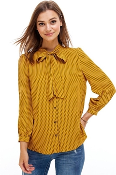 Miley and Molly Mustard Tie Blouse - Product List Image