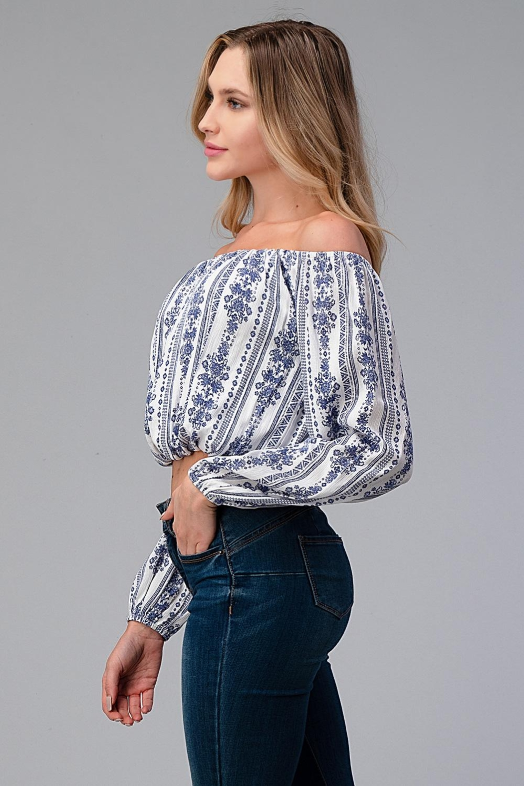 Miley and Molly Off Shoulder Blouse Fashion Top - Front Full Image
