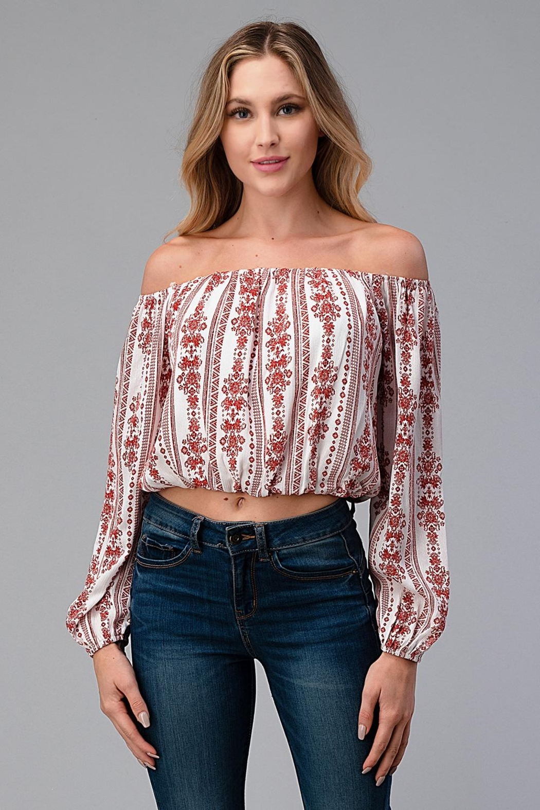 Miley and Molly Off Shoulder Blouse Fashion Top - Front Cropped Image
