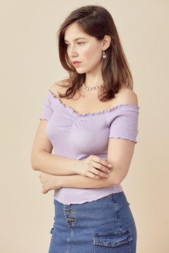 Miley and Molly Off Shoulder Top All Over Shirred Blouse Top - Alternate List Image