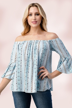 Miley and Molly Off The Shoulder With Bell Sleeves Top - Alternate List Image