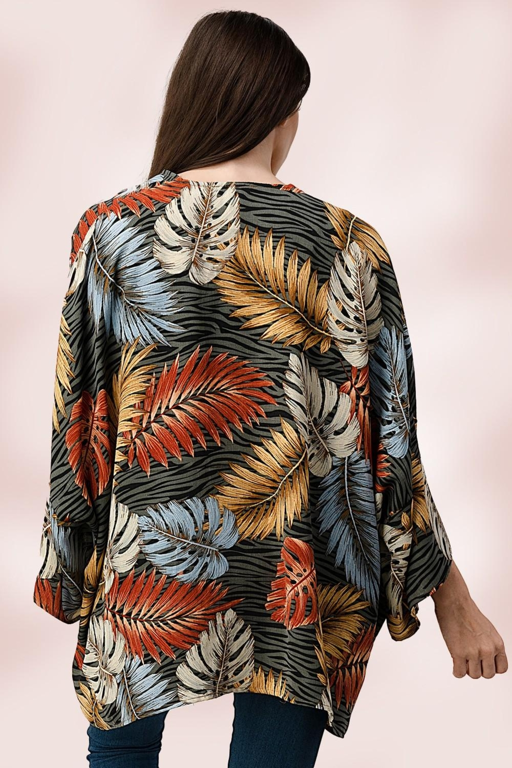 Miley and Molly Oversize Kimono Tropical Leaf Cardigan - Back Cropped Image