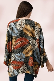 Miley and Molly Oversize Kimono Tropical Leaf Cardigan - Back cropped