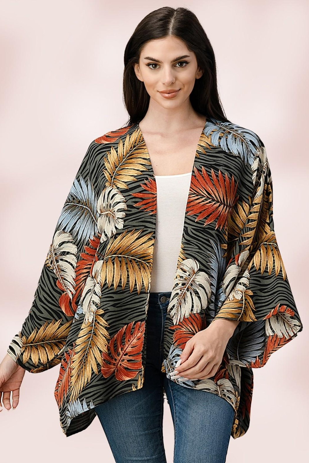 Miley and Molly Oversize Kimono Tropical Leaf Cardigan - Front Cropped Image