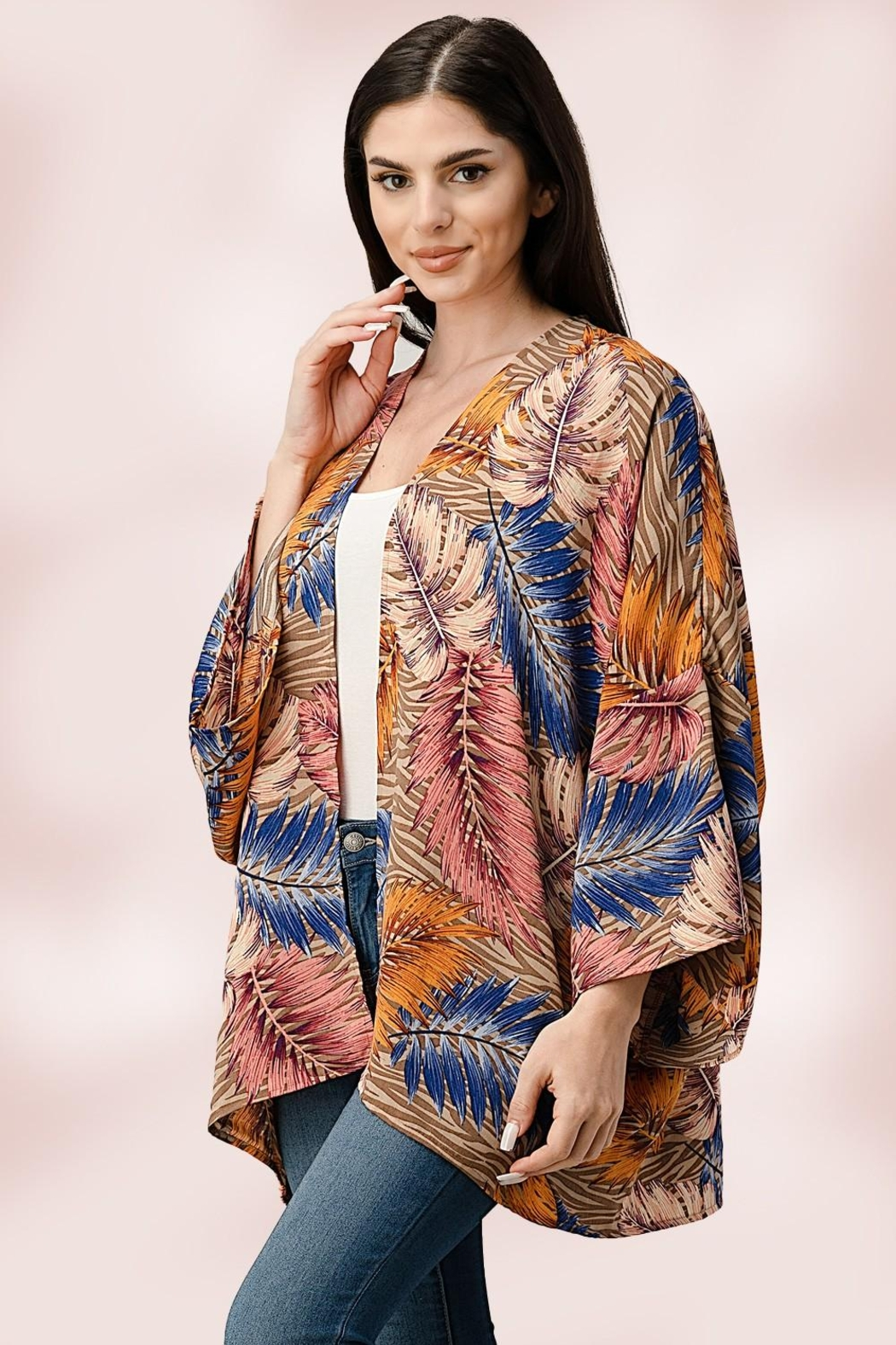 Miley and Molly Oversize Kimono Tropical Leaf Cardigan - Front Full Image