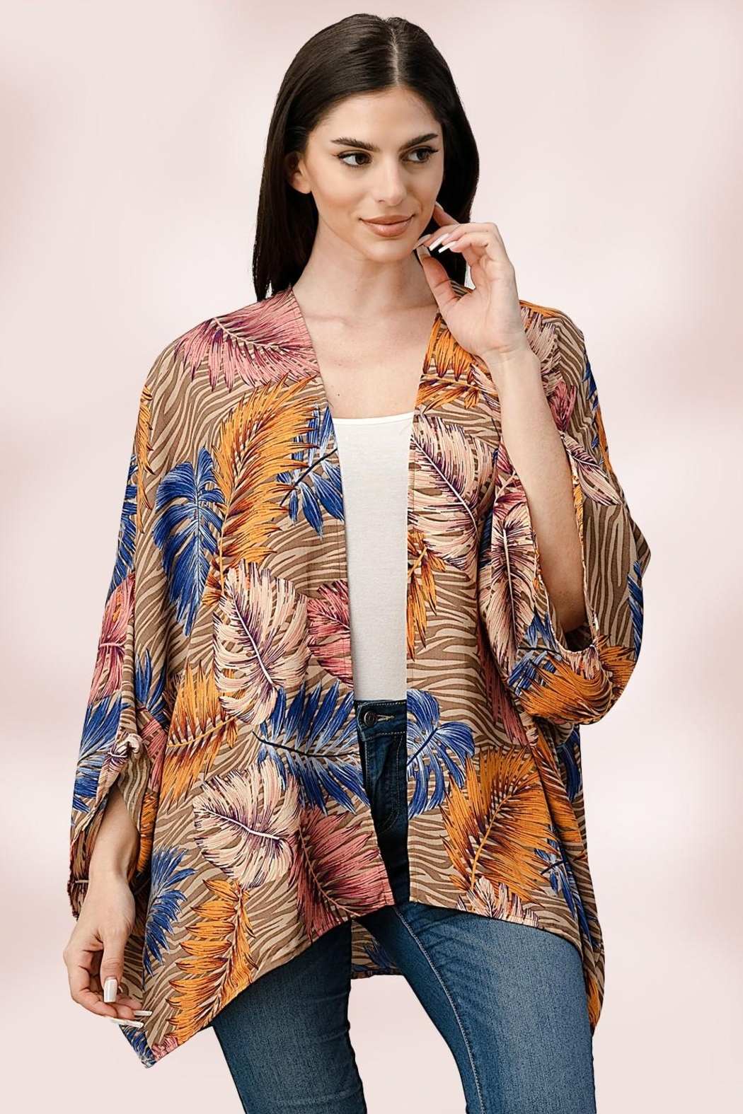 Miley and Molly Oversize Kimono Tropical Leaf Cardigan - Main Image
