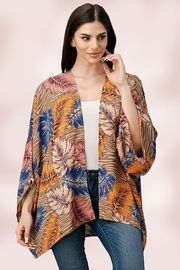 Miley and Molly Oversize Kimono Tropical Leaf Cardigan - Front cropped