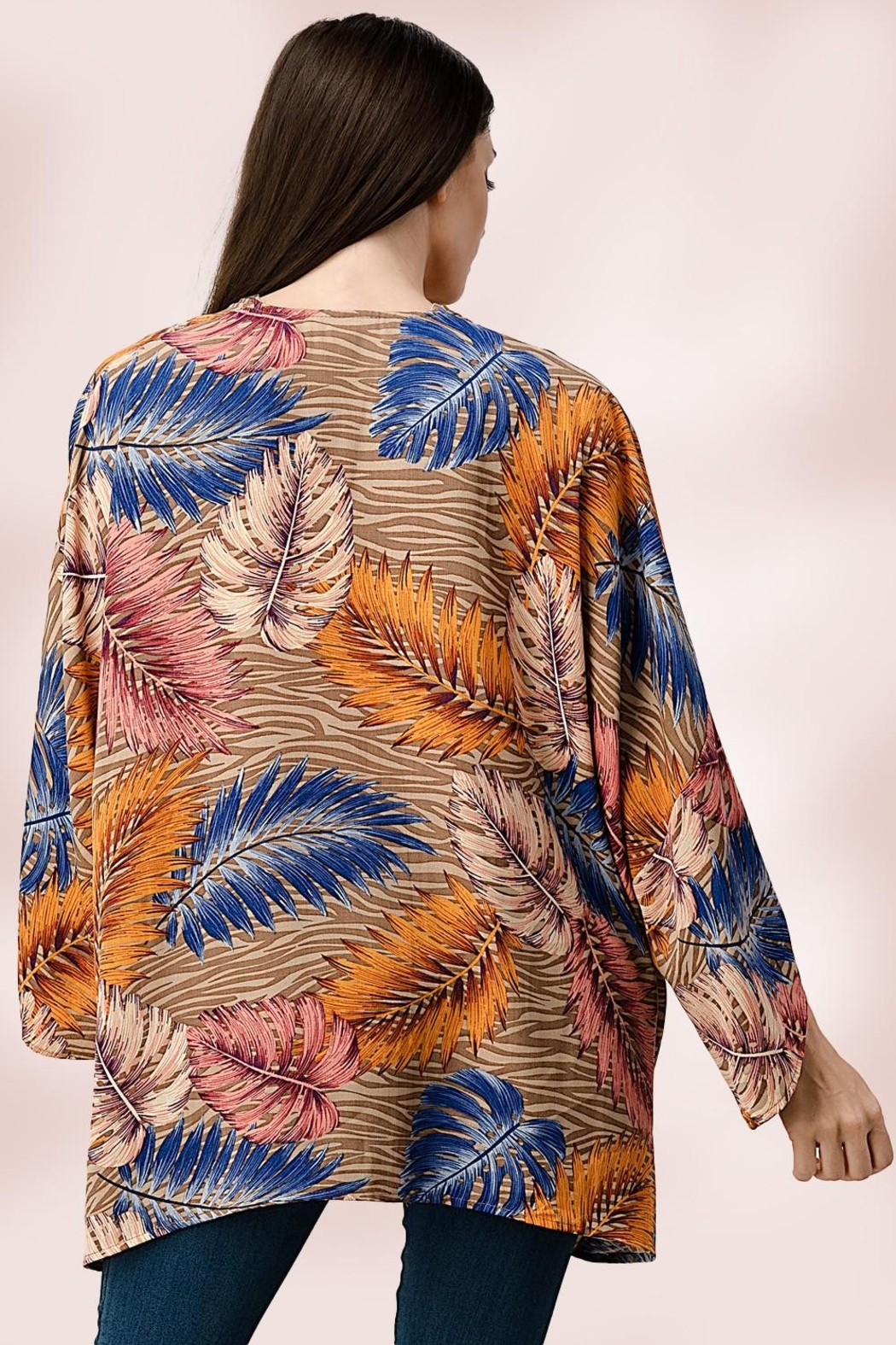 Miley and Molly Oversize Kimono Tropical Leaf Cardigan - Side Cropped Image