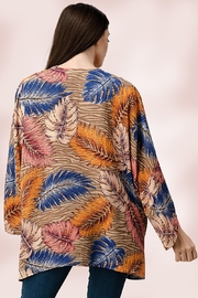 Miley and Molly Oversize Kimono Tropical Leaf Cardigan - Side cropped