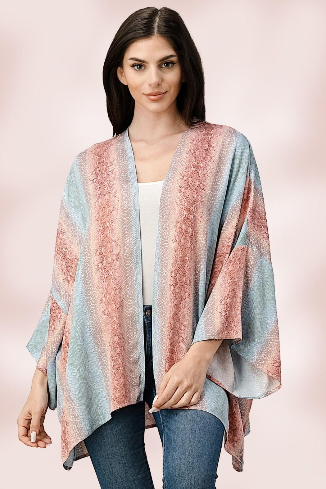 Miley and Molly Oversized Kimono In Snake Skin Printed Cardigan - Main Image