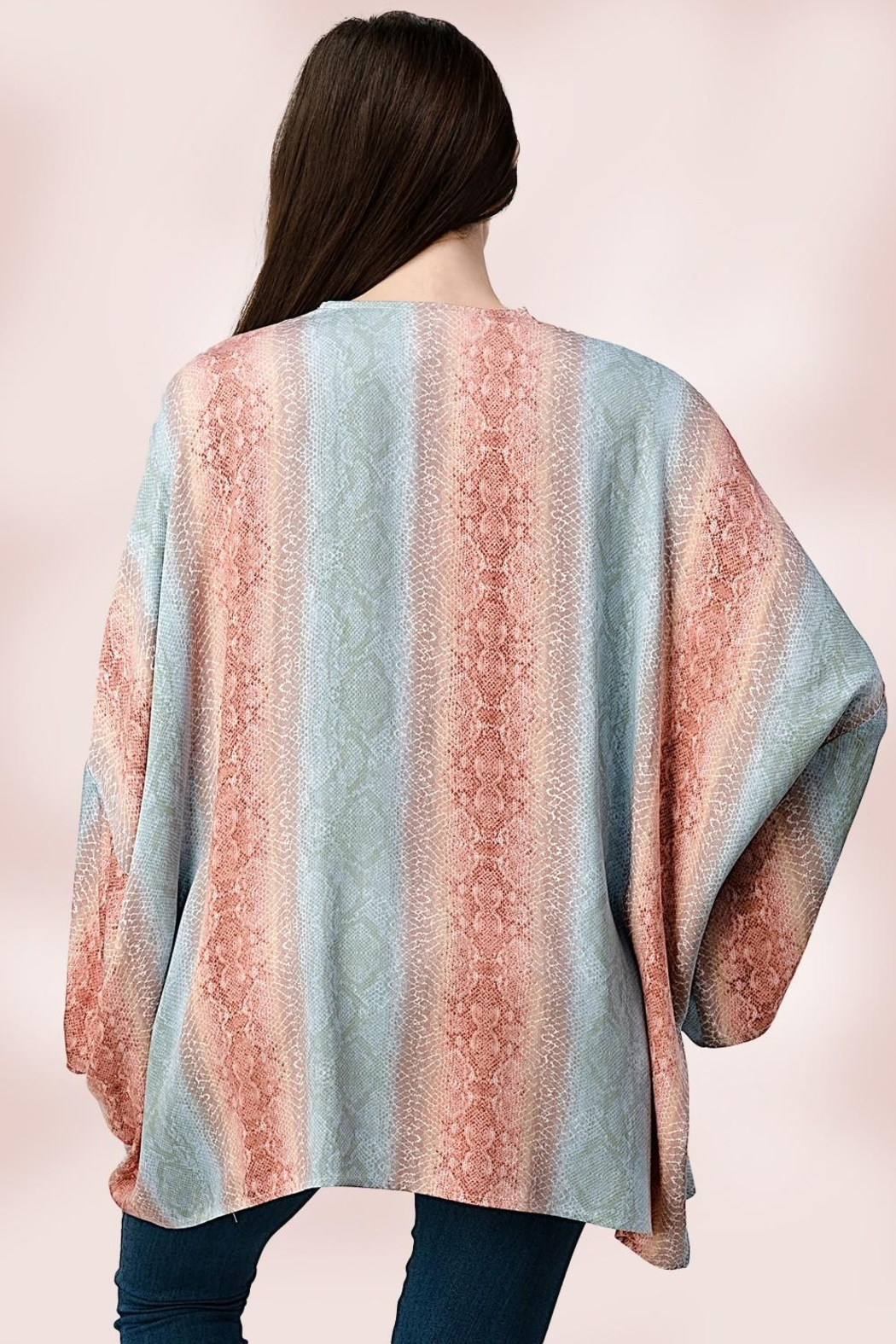 Miley and Molly Oversized Kimono In Snake Skin Printed Cardigan - Back Cropped Image