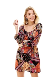 Miley and Molly Patchwork Print Crochet Waist Peasant Dress - Product Mini Image