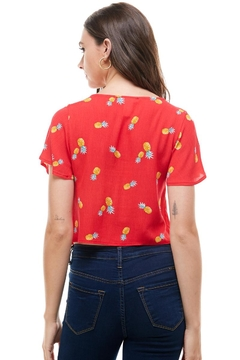 Miley and Molly Pineapple Print Button Front Tie Waist Top - Alternate List Image