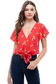 Miley and Molly Pineapple Print Button Front Tie Waist Top - Product Mini Image