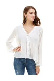 Miley and Molly Pleat Detail Tie Neck Soft Blouse - Product Mini Image