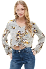 Miley and Molly Printed Long Sleeve Crop With Gather Pull At Center Front Blouse Top - Product Mini Image