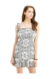 Miley and Molly Printed Ruffle Shoulder Peasant Dress - Product Mini Image