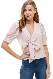 Miley and Molly Puff Sleeves Bow Tie Front Blouse - Product Mini Image