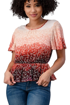 Miley and Molly Rayon Gauze Floral Dip Dyed Printed Flutter Short Sleeve Peplum Blouse - Product List Image