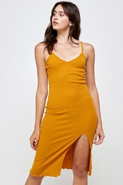 Miley and Molly Rib Knit Slit Front Cami Midi Dress - Front cropped